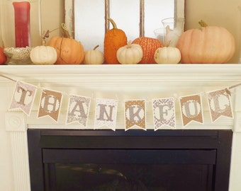 """Fall """"THANKFUL"""" Banner ~ Handmade ~ Harvest Party ~ Thanksgiving Home Decor ~ Photo Prop ~ Neutral"""