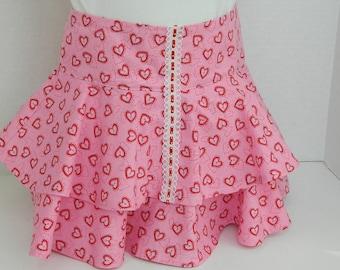 Girls' Pink Twirl Skirt, Pink and Red Hearts, Layered Ruffled Skirt, Handmade Girls' Clothes, Spring to Summer Cotton Skirt, Flirty Skirt
