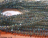 1 strand of 6x4mm Faceted Rondelle Green Peacock finish Chinese Crystal