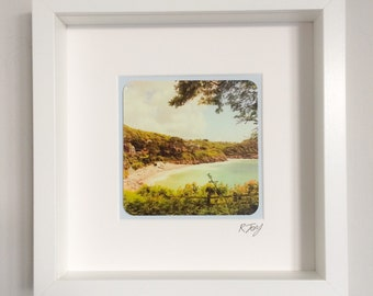 Caswell Bay, Gower, framed vintage effect photo.