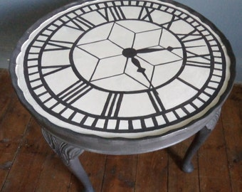Bespoke Circular Coffee Table With Hand Painted Clock Face