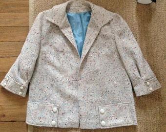 Vintage 1950s Blue Beige Red Flecked Wool Box Jacket Medium Dead Stock