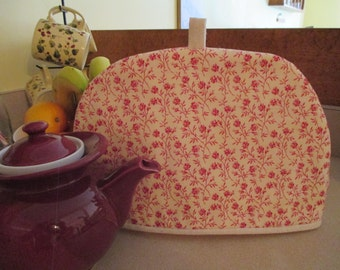 Tea cozy, tea cosy, teapot cover, red floral, country floral, calico, ecru muslin, large tea cozy