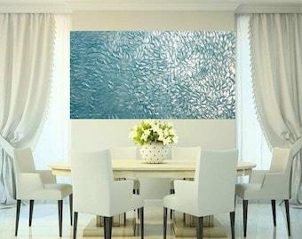 "2 DAY SALE XLarge Aqua Pearl Oil Landscape Abstract Original 48"" palette knife oil  impasto oil painting by Nicolette Vaughan Horner"