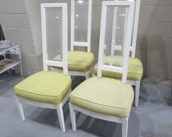On sale Get YOUR JONES ON / Set Of 4 Charles Hollis Jones High Back Dining Chairs / Faceted Lucite And Wood / Modern Decor