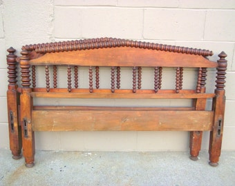 Antique Heirloom Jenny Lind BED Full Size Spindle Spool Solid Wood Country Cottage Headboard and Footboard - Primitive Chic