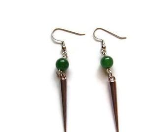 CLEARANCE...Green Aventurine and Spike Earrings