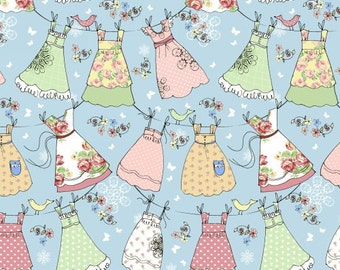 LAUNDRY DAY  cotton print by the yard sun dresses on clothesline on blue Windham Fabric 42416-X