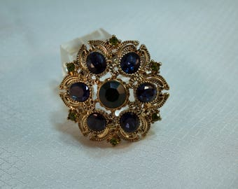 1990's Blue and Green Rhinestone Fashion Brooch, Sequin Manufacturer
