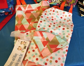Mommy and Sissy Reversible Aprons Set Orange Mint and Gold
