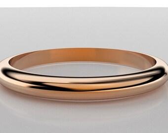 14K RoseGold 2mm Half Round Wedding Band Classic Band Boho Wedding Simple Gold Stacking Ring