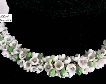 HANDMADE VICTORIAN Lily of the Valley Necklace Choker in Cold Porcelain Clay Mother's Day Bridal Bridesmaid Birthday Reenactment Pageant