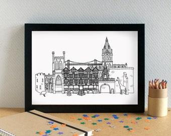 Chester Landmarks Print - Chester Print - Chester Art - Chester Wedding Gift - Bon Voyage Gift - Housewarming Art - Cheshire Art - New Home