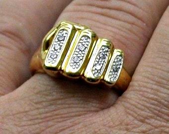 Vintage Stunning Vermeil Cubic Zirconia Ring