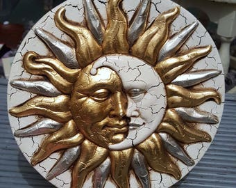 Vintage Hand Made Sun and Moon Plaque