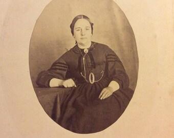 Antique CDV Cart de Visite 1860's Woman Victorian Fashion