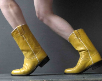 Justin Boots Womens Canary Yellow Biker Cowboy Boots Womens 6.5, 7-8