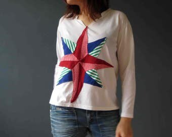 CLEARANCE Nautical Star Compass Patchwork Tee Shirt T Shirt Womens Repurposed White Long Sleeve