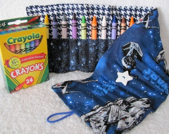 Crayon Roll Star Wars Fabric 24 Crayon Holder Blue with Blue Star and Hounds Tooth Fabric White Star Button Elastic Loop for Easy Close