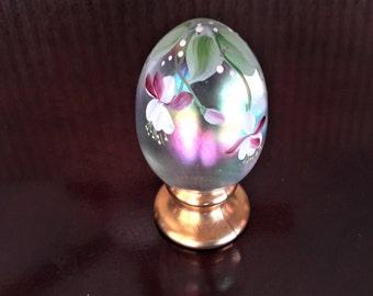 Fenton Glass Hand Decorated Egg Artist Signed Fuchsia Flower Gold Pedestal Base