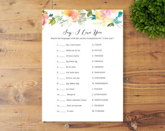 INSTANT DOWNLOAD, Printable Bridal Shower Game, Say I Love You, Watercolor Flowers
