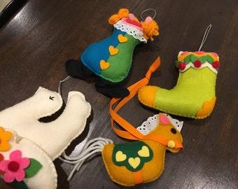 "Handmade Vintage Stuffed Felt embroidered christmas ornaments 6"" doce stocking clown pony"