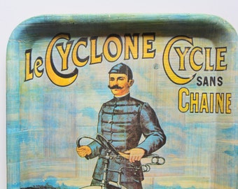 Vintage Le Cyclone Cycle Sans Chaine Bamboo Tray