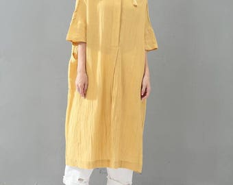 Yellow/ black oversize dress Women Long Shirt style dress