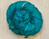Hand dyed Sari Silk Ribbon in Turquoise and Sky Blue Worm Goo by PenandHook Skeins in Four Sizes