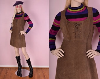 90s Brown Suede Lace Up Dress/ US 13/ 1990s