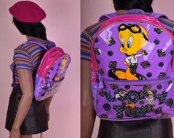 90s Looney Tunes Vinyl Backpack/ 1990s/ Bag