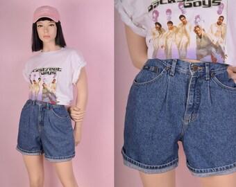 90s High Waisted Stone Washed Shorts/ US 6/ 1990s/ Denim