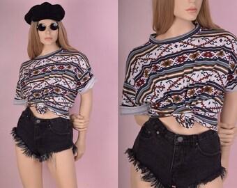 90s Tribal Print Tshirt/ XL/ 1990s/ Striped/ Short Sleeve