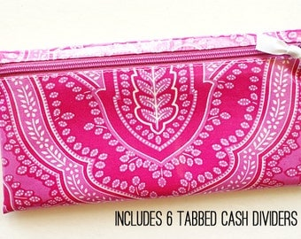 Cash envelope system budget wallet with 6 tabbed dividers // pink, fuchsia, white designer laminated cotton