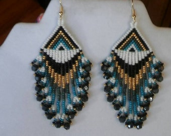 Native American Style Beaded Blue Earrings Seed Beads Southwestern, Brick Stitch, Peyote Boho, Hippie, Gypsy  Ready to Ship