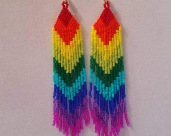 Native American Style Beaded Rainbow Earrings Shoulder Dusters Southwestern, Boho, Gypsy, Brick Stitch, Peyote, Great Gift Ready to Ship