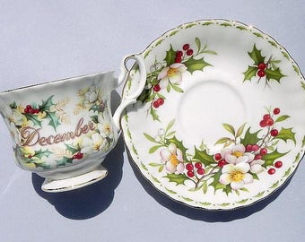 Royal Albert December Bone China Tea Cup and Saucer Vintage Made In England