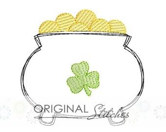 Quick Stitch Pot of Gold Applique and Machine Embroidery Design File 4x4 5x7 6x10 7x11