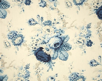 """Two King Sized Pillow Cover Shams with 2"""" Flange - Shabby Chic - Floral  - Blue Beige Ivory"""