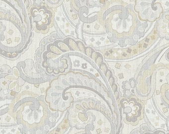 """Two King/Queen/Euro  Size Pillow Cover  Shams with 2"""" Flange - Kravet Walmsley Paisley - Sterling- Grey / Yellow - Bedskirt Available"""
