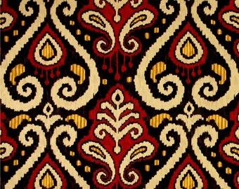 Two 16 x 26  Custom Designer Decorative Lumbar Pillow Covers  -  Large Ikat - Black Yellow Gold Orange Brown