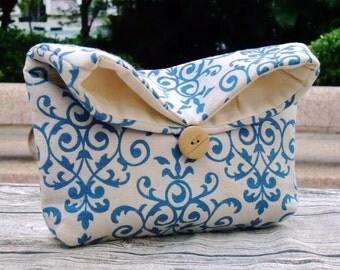 Foldover clutch, Fold over bag, clutch purse, evening clutch, wedding purse, bridesmaid gifts - Damask (Ref. FC4 )