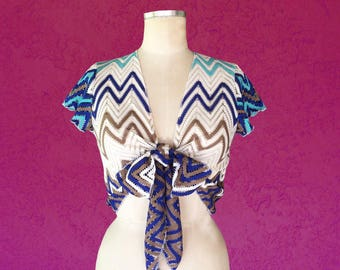 Zig Zag Crochet Tie Front Top / Bow Blouse / Crop Top / Midriff Top /Festival Clothing /Summer /Beachwear /70's Top -Available in S, M, or L