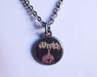Wretch metal band small resin pendant necklace; metal band necklace; skull necklace;