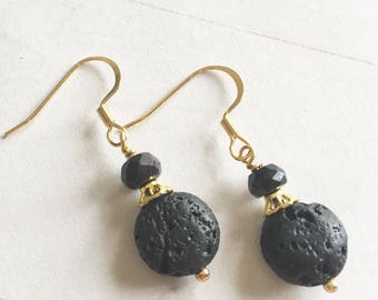 Essential Oil Diffuser Earrings Black Lava Stone and Bead with Gold Bead Cap