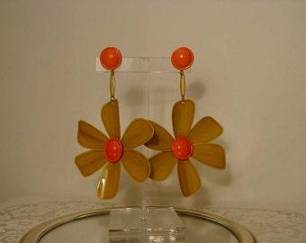 """Huge Iconic 1960s Mod - Groovy Enamel Flower Shoulder Duster Dangle Earrings 4"""""""