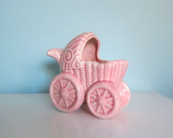 Baby Buggy Planter, Pink Baby Buggy, Mid Century Baby Planter, Baby Girl Gift, Pink Pram Planter, Pink Nursery Decor, Vintage Pink Stroller