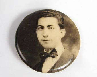 """Spring Cleaning SALE Antique Young Man Portrait Photo Button Pin Mourning 1"""" Black Bow Tie 1920s"""
