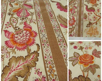 "Brunschwig &Fils-Bellary Cotton Print in Rose-Tumeric Pc -w 32""x37"" L-Jacobean-Luxury Print Fabric-Italian Fabric"