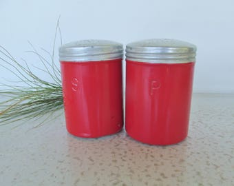 Vintage Salt and Pepper Aluminum Shakers Red Canisters Mid Century